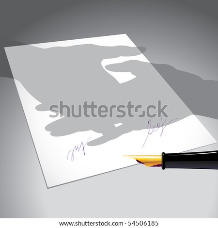 bilateral treaty, pen, two signatures under the document, as the shadow handshake - stock vector