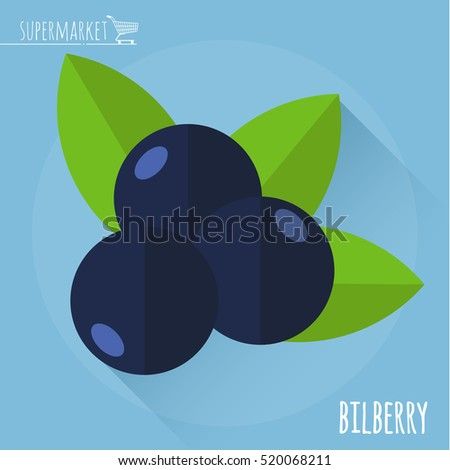 Bilberry.  Long shadow flat design vector icon.