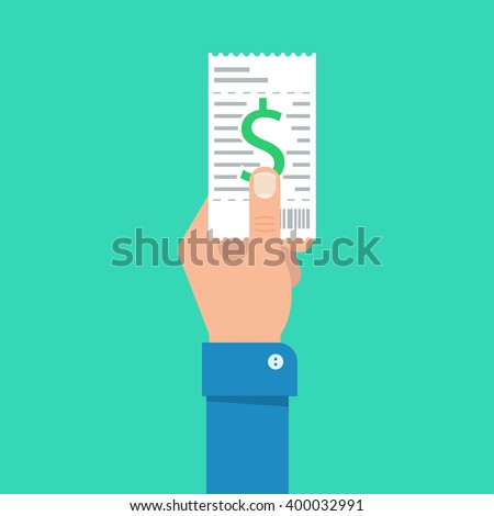 Bill to pay vector illustration. Bill payment design in flat style. Hand holding bill. Paying bills concept. Payment of utility, bank, restaurant and other bills. Giving or receiving bill. - stock vector