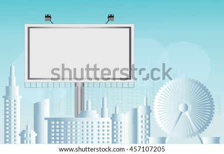 Billboard advertisement commercial blank city view background, Flat style vector illustration. - stock vector