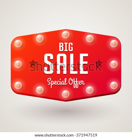 Billboard in retro style with bulbs, vector banner with text Big Sale - stock vector