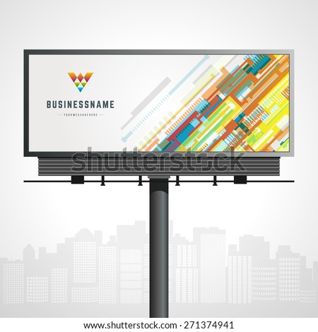 Billboard mock up for logo presentation and abstract logotype identity with urban horizon vector background