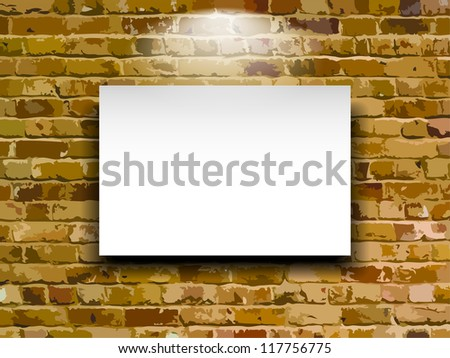 Billboard on brick wall, vector - stock vector