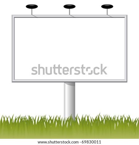 Billboard on the grass - stock vector
