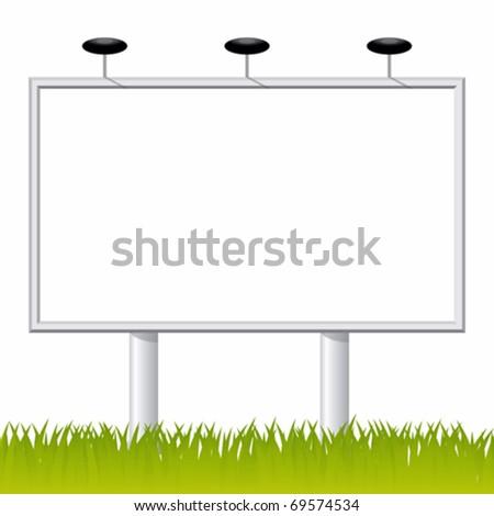 Billboard on the green grass - stock vector