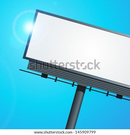 Billboard with urban horizon vector background  - stock vector