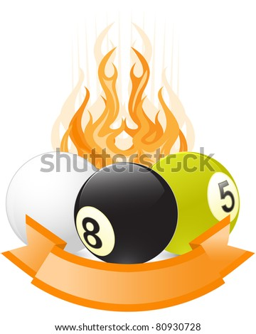 Billiard ball emblem  in flame with ribbon - stock vector