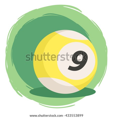 Billiard Ball Number 9 Yellow. Vector illustration of striped color yellow and white billiards ball number nine isolated on green white background. - stock vector