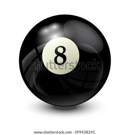 billiard ball 8- realistic vector design - stock vector