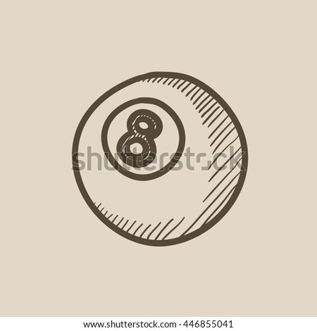 Billiard ball vector sketch icon isolated on background. Hand drawn Billiard ball icon. Billiard ball sketch icon for infographic, website or app. - stock vector