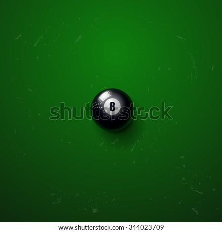Billiard black ball on green background - stock vector