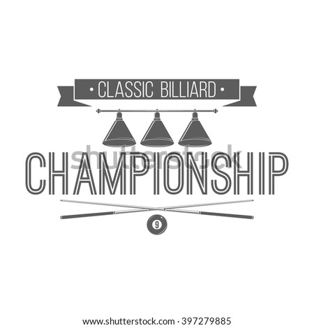 Billiard championship emblem, badge template. Isolated logo on white background. Vector label with cues, ball and light lamp. For billiard tournament advertising or window signage. Classic design. - stock vector