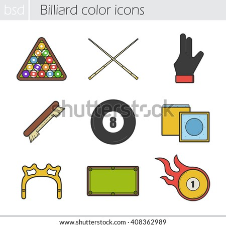 Billiard color icons set. Ball rack, cues, player's glove, brush, eight ball, chalk, rest head, table and burning ball. Snooker equipment. Vector isolated illustrations - stock vector