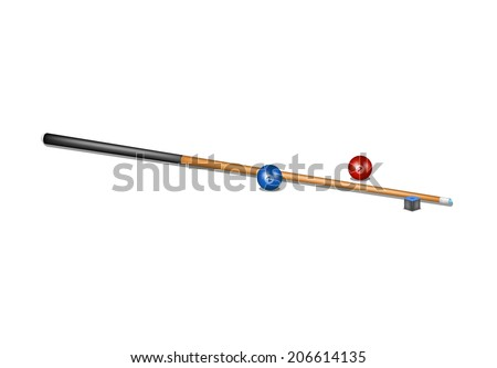 Billiard cue, chalk block and billiard balls  - stock vector