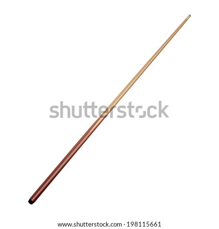 Billiard cue isolated on white background. Vector illustration - stock vector