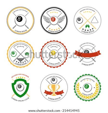 Billiard design elements and badges set. Vector illustration - stock vector