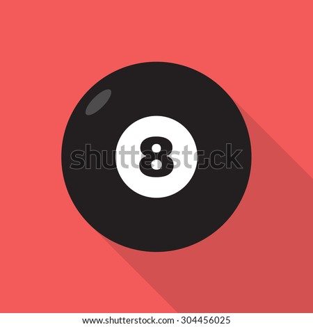 Billiard eight black ball with digit. Vector flat style icon with long shadow,EPS10 - stock vector