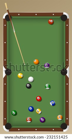 billiard game set vector cartoon illustration - stock vector