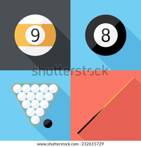 billiard icons. Flat design style modern vector illustration. Isolated on stylish color background. Flat long shadow icon. Elements in flat design. - stock vector