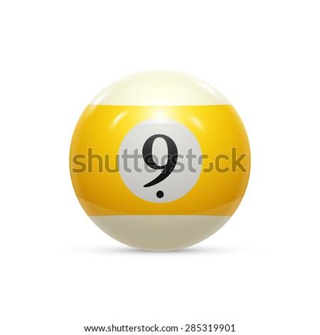Billiard nine ball isolated on a white background vector illustration - stock vector