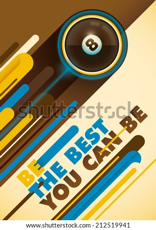 Billiard poster with abstract design. Vector illustration. - stock vector