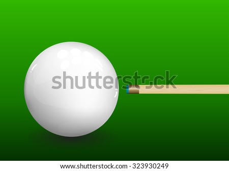 Billiard (snooker) ball with aiming cue on green background. Vector illustration. - stock vector