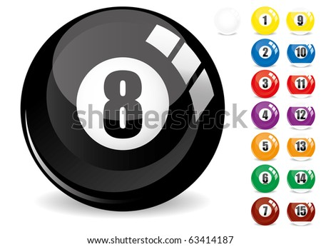 Billiard snooker - pool ball eight - 8 ball - black and other fifteen 15 billiard balls, isolated on white, with reflections, vector illustration - stock vector