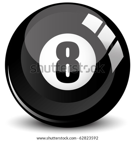 Billiard snooker - pool ball eight - 8 ball - black, isolated on white, with reflections, vector illustration - stock vector