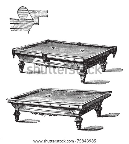 Billiard table and Carom billiards, tables, vintage engraved illustration of Billiard table and Carom billiards, tables, isolated on a white background. - stock vector