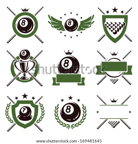 Billiards and snooker labels and icons set. Vector  - stock vector