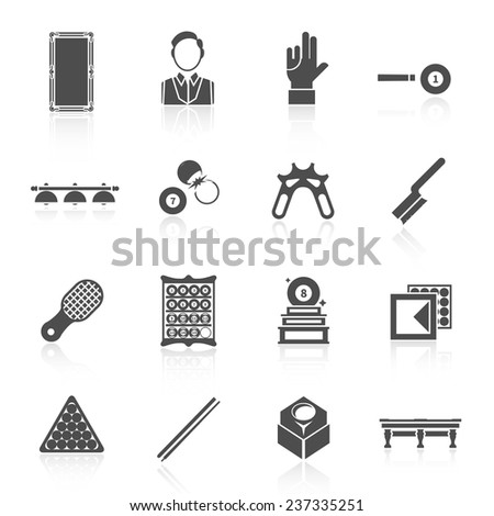 Billiards black icons set with trophy player glove ball isolated vector illustration - stock vector