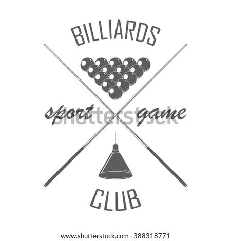 Billiards club badge template. Billiard logotype with cues, pyramid, lamp. Billiard club label on white. For Billiard club advertising, window signage. Game club emblem, icon. Vector illustration. - stock vector