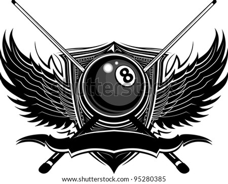Billiards Eight Ball with Ornamental Wings Vector Template - stock vector