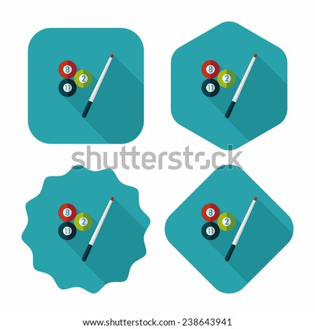 billiards flat icon with long shadow, eps10 - stock vector