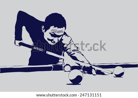 billiards man vector illustration - stock vector