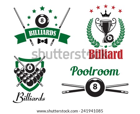 Billiards, snooker and pool game emblems or logo logo with crossed cues, balls, heraldry shield, wreath, sport trophy cup and ribbon banner for sport design - stock vector