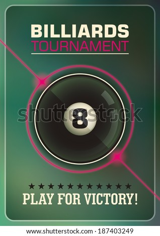 Billiards tournament poster design. Vector illustration. - stock vector