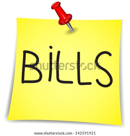 Bills  Word on a Note Paper with pin on white background - stock vector