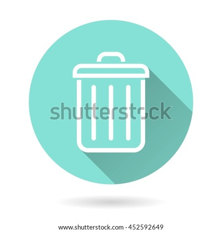 Bin vector icon. White Illustration isolated on green background for graphic and web design. - stock vector