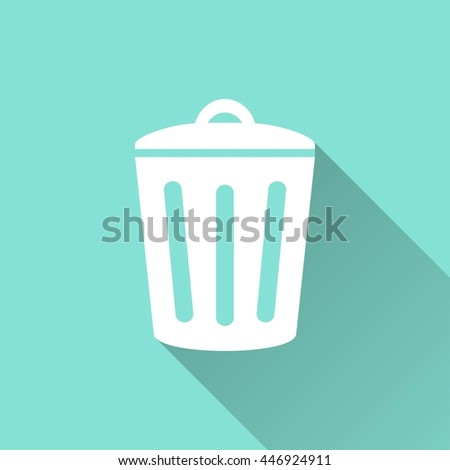 Bin vector icon with long shadow. White illustration isolated on green background for graphic and web design. - stock vector