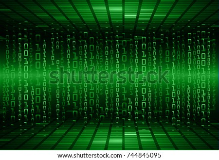 binary circuit board future technology, green cyber security concept background, abstract hi speed digital internet.motion move blur. pixel vector