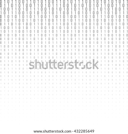 Binary code black and white background with two binary digits, 0 and 1 isolated on a white background. Halftone vector illustration. - stock vector