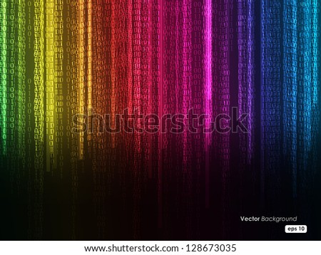 Binary code flowing over a background. Digital illustration. - stock vector