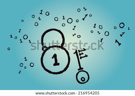 Binary code in shape of a padlock and key. Internet security concept. Hand drawn isolated vector sketch on blue background. - stock vector