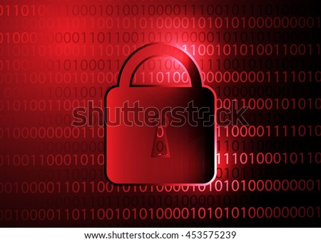 Binary code with security lock icon concept design - stock vector
