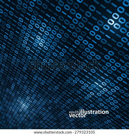 Binary computer code background, abstract vector illustration eps10 - stock vector