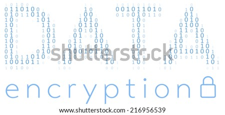Binary Digital Data Encryption encoding for communication security - stock vector