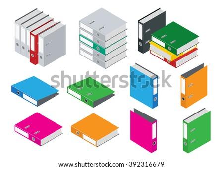 Binder blank file folder. Office Folder File. Composition Isolated on White Background. Flat 3d isometric vector blank case binder illustration.   - stock vector