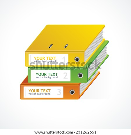 Binders Vector 123 infographics template for your text - stock vector