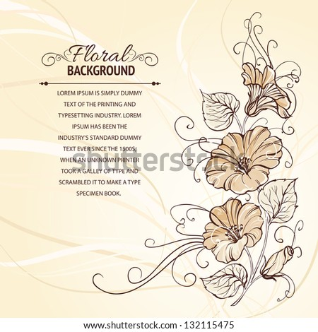 Bindweed on a sepia background with empty space. Vector illustration, contains transparencies, gradients and effects.